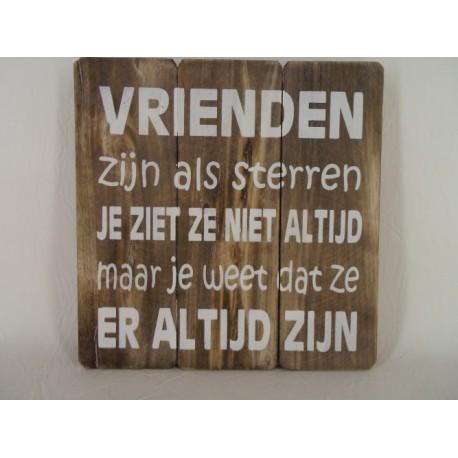 hout plank met tekst
